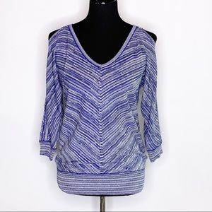 WHBM blue silver knit cold shoulder top S